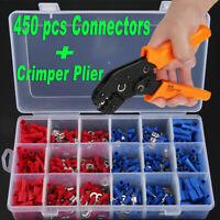 450 pcs Electrical Terminal Connectors + 1 pcs Cable Wire Ratchet Crimper Plier