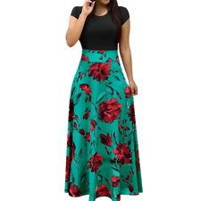 Fashion Womens Floral Maxi Dress Floral Short Sleeve Party Long Dress Sundress