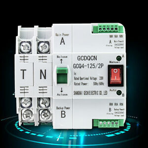 Safety 2P 63A Dual Power Automatic Transfer Switch PC Level Switch 220V 50/60Hz