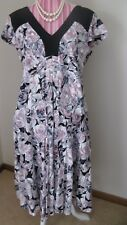 Parrakeets DRESS 16-18 Plus Size Summer Cotton Floral pink mauve black contrast