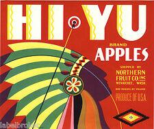 CRATE LABEL VINTAGE INDIAN CHIEF ART DECO ADVERTISING HI-YU WAR BONNET RED 1930S