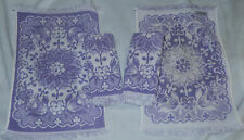 "4 rare VINTAGE MARTEX purple & WHITE REVERSIBLE COTTON HAND TOWELS 16 1/2"" X 11"
