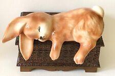 Vintage Pottery Brown Sleeping Easter Bunny Rabbit Shelf Sitter Decoration Gift