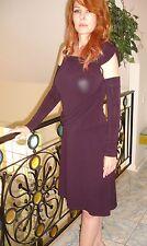 ALYSI SLEEVELESS SEPARATE SLEEVES PLUM STRETCH DRESS SZ 48 ITALY UNIQUE!!!