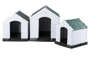 Dog Kennel Pet House Plastic XL L Weatherproof Indoor Outdoor Animal Shelter