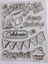 Craft Stamps Celebrate, Party, Surprise. Cards, Scrapbooking. U.K. Seller