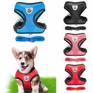 Mesh Dog Harness Collar & Lead Adjustable Non Pull Vest Puppy Leash UK DH8