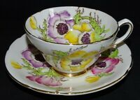 Stanley England Anemone Hand Painted Cup & Saucer Bone China