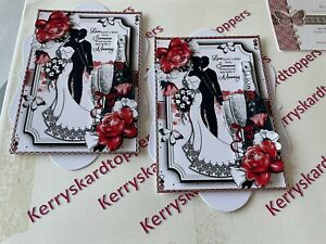 2 x Decoupage Pictures of New Wedding Theme Toppers