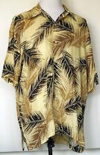 Irvine Park Brown & Tan Palm Leaf Button-Front Hawaiian Camp Rayon S/S Shirt XL