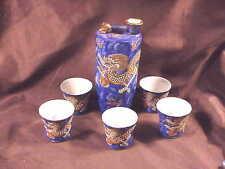 JAPANESE MORIAGE SAKI SET, BLUE DRAGON WARE, 6 PCS, INC 5  LITHOPHANE CUPS,'50's