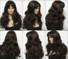HE-J0307 Junoesque women's long brown red mixed black curly wig wigs