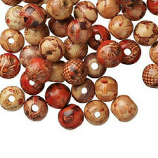 4184NB Bead Mix Wood Painted Brown Red Yellow 12mm Round, 100 Qty
