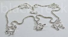 925 Sterling Silver ~ 10.5 inch~ Charm Anklet ~  5 Open Heart Charms~