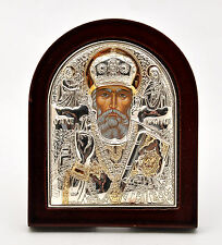 Saint Nicholas Byzantine Icon Sterling Silver 925 Treated Size 9x7cm'.