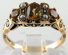 STUNNING 9K 9CT GOLD CITRINE & PEARL VINTAGE INS RING FREE RESIZE