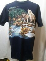 Gildan Heavy Weight Pre-Shrunk Wolves In Nature T-Shirt Blue Mens Size Large LN
