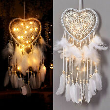 Heart Shaped Pendant Feathers Ornaments LED Lights Woven Net Battery Operated