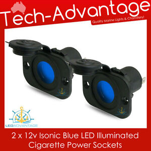 2 X 12V FLUSH MOUNT BLUE LED ILLUMINATED POWER SOCKET PLUG - BOAT/MARINE/CARAVAN