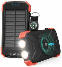 Solar Power Bank Portable Charger 10000mAh Dual LED Light Compass Shockproof