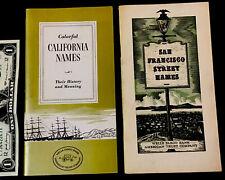 RARE HISTORIC 1950's Street Names CALIFORNIA & SAN FRANCISCO *History & Meanings