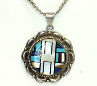 Old Pawn Zuni Sterling Silver Multi Gemstone Inlay Pendant Mesh Chain Necklace