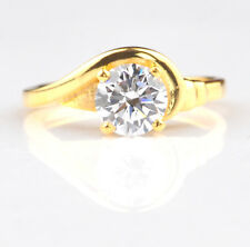 Round Shape Solitaire Engagement Ring 3.10 Carat 14Kt Yellow Gold Awesome