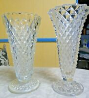 2 Vintage Cut Crystal Glass Vases