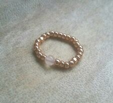 Rose Gold & Genuine Rose Quartz Ball Beaded Ring Stretch Stacking