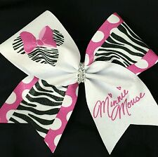 Cheer Bow - Minnie Mouse Zebra Print Glitter - Disney -  Hair Bows