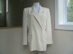 Linda Allard Ellen Tracy Women's Ivory Colored Silk Blazer Size 10