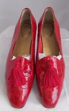 Norman Kaplan Las Vegas Women's Tassel Flats Patent Leather Croc Embossed 11 M