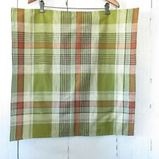 Pottery Barn Throw Pillow Cover Green Red Plaid 24 x 24 Cotton