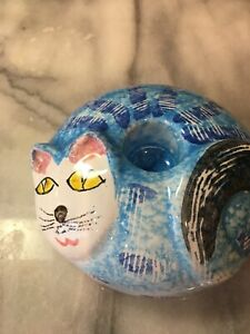 """Blue Cat Candle Holder Italy Hand Painted ~4x2"""""""