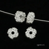 4 Sterling Silver 4-Rose Rondelle Spacer Beads 5.7mm #99324