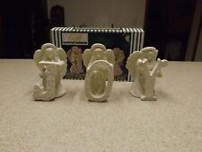 """Set Of 3""""Joy"""" Jade Porcelain Angel Taper Candle Holder Gift CollectionVtg"""