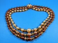 Vintage Faux Pearl Three Strand Beaded Necklace Peach Cream Copper Colors