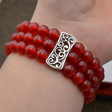 Natural 3 row Women's 8mm red ruby Beads gems Stretch Tibetan silver Bracelets