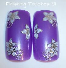 Nail Art Sticker- 3D Flower Decal #315 TJ017  Wedding Transfer Metallic Silver