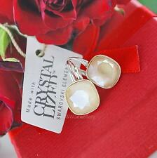 925 Silver Earrings Crystals From Swarovski® SQUARE FANCY STONE Ivory Cream 10mm