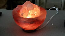 "Authentic Large Himalayan Salt ""Fire Bowl"" Lamp -Air Purifier- 7"" Round; 8-10lbs"