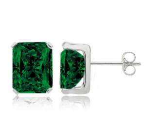 925 Sterling Silver 2.00CTTW Emerald Cut Emerald Stud Earrings 7x5MM
