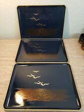 Vintage Otagiri Seagull Lacquerware Blue Gold Lot of 3 Serving Tray
