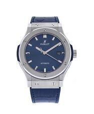 Hublot Classic Fusion Titanium Automatic 42mm Blue Leather Watch 542.NX.7170.LR
