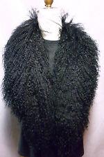 Real Black Mongolian Tibetan Lamb Detachable Fur Collar  made in the U.S.A.