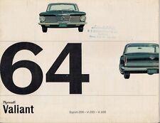 Plymouth Valiant 1964 le vendite sul Mercato olandese BROCHURE V-100 V-200 con sigillo 200