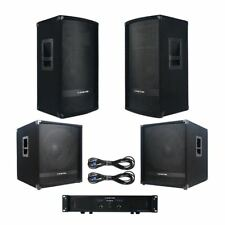 """Sound Town Pro PA System: 12"""" Speakers, 15"""" Subwoofers, 2-Channel Amp, Cables"""