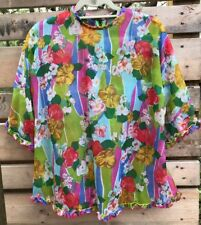 "Handmade Vintage Wm's Med.? 40"" Bust Semi-Sheer Floral Ruffled Blouse Top Zip Bk"