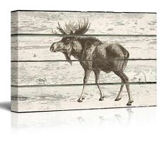 Sketched Drawing of a Moose on a Rustic Background - Canvas Art - 16x24 inches