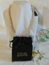 Honora Champagne Pearl Necklace 14k White Gold Clasp NWT